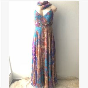 VINTAGE 100% Silk Long Dress With Scarf